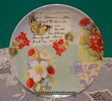 Pier 1 Porcelain Salad Plates Butterflies Red Purple  Floral 8""