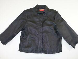 Isaac Mizrahi Women's 100% Leather Jacket Size XL 3/4 Sleeves Black Button Front