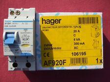 Réf AF920F OU AFC920F DISJONCTEUR DIFFERENTIEL HAGER 1P+N 20A 300mA type AC