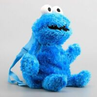 Sesame Street Cookie Monster Backpack Baby Kids Stuffed Animal Toy Plush 3-D Bag