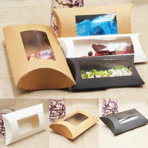 Party Wedding Favors Pillow Shape Paper Candy Boxes Christmas Kraft Gift Bags