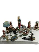 16 Pieces Lot Historic Lighthouse Collection Ceramic Miniatures Figurines
