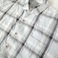 Tommy Bahama Mens Large Button Shirt 100% Silk Blue Plaid Short Sleeve