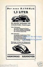 Hanomag 1,3 L Publicité de 1939 Bretzel Coccinelle simili Hanovre Publicité Ad