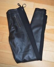 New Next Genuine Black Leather Skinny Leg / Jeggings Lined Trousers Sz UK 8