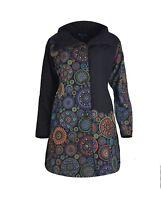 Women's Long Sleeve Cotton Jacket Mandala Pattern Ladies Trench Coat