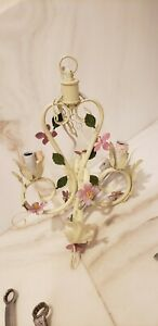 Vintage Petite Tole Crystal French Chandelier 4 Light Cord with Switch - Hanging