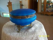 Trinket Box Antique Large Stunning Powder Blue Striped Porcelain & Brass Footed