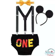 Baby Boy Mickey Mouse One Cake Smash 1st Birthday Costume Photo prop 4 Pc Outfit