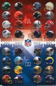 NFL Football Universe ALL 32 TEAM HELMETS 2021 Official Logos 22x34 WALL POSTER