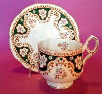 Rosina Pedestal Teacup And Saucer - Dark Green And Gold With Roses - England