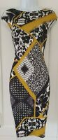 Womens Roman Originals Black Mustard Abstract Floral Stretch Scuba Shift Dress18