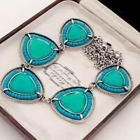 A Very Pretty Sea Blue Green Faux Acrylic Opal Vintage Style Necklace