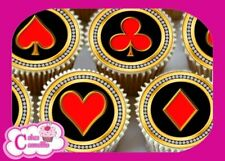 24 X BLING PLAYING CARD SUIT EDIBLE CUPCAKE TOPPERS RICE CAKE WAFER PAPER 9172