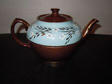 Vntg Sadler Lusterware Teapot Lavender & Brown 23K Gold Trim