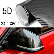 "5D Car DIY Sticker Carbon Fiber Vinyl 24x60"" Ultra Shiny Gloss Glossy Wrap Black"