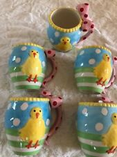NEW Set of 5 Spring Mugs, Raised Chick & 3D Bow