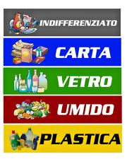 5 ADESIVI PVC DIFFERENZIATA BIDONI ESTERNO RACCOLTA SPAZZATURA NOVITA' ADESIVO