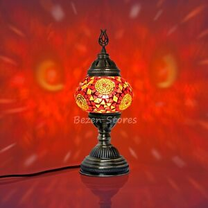 Turkish Moroccan Mosaic Table or Bedside Lamp,mosaic lamp Big Globe Red colour