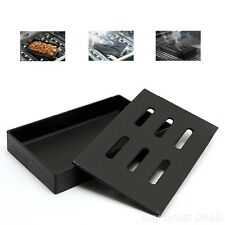 BBQ Grill Cast Iron Smoker Box Wood Chip Great Smoke Flavor Outdoor Cooking Tool