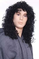 Male Glam Punk Rock Rocker Wig Black Long Curly Costume Cosplay Halloween