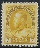 Scott 113 - 7c Yellow Ochre King George V Admiral, wet printing, VF-H