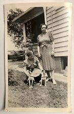 Vintage 1930s Women With Jack Russell Terriers Dog Pet Original Photo Snapshot