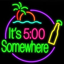 It's 5 O'clock Somewhere Neon Sign Light Beer Bar Pub Home Room Wall 19''x15''