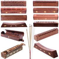 30cm Wooden Incense Joss Stick Cone Holder Carved Wood & Brass Home Fragrance