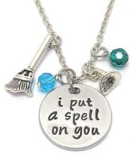NEW I put a spell on you necklace, blue green crystals, witches hat and broom