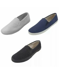 NEW Mens Canvas Sneakers Classic Deck Slip On Shoes 3 Colors, Sizes: 9-12