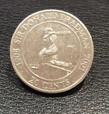 2001 Sir Donald Bradman 20 twenty cent Coin Cricket Lovers