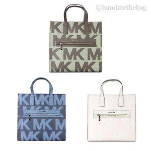 Michael Kors Kenly Large Signature Graphic NS Tote Crossbody Handbag Purse