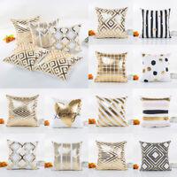 Gold Foil Print Pillow Case Sofa Back Waist Throw Cushion Cover Home Bed Decor