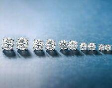 6Pairs Stainless Steel Cubic Zirconia Round Cut Men Women Stud Earrings 3mm-8mm