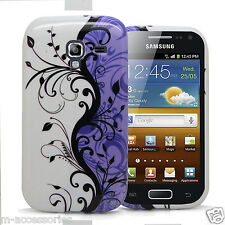 LILAC FLORAL SILICONE GEL CASE COVER SKIN FOR SAMSUNG GT-I8160 GALAXY ACE 2