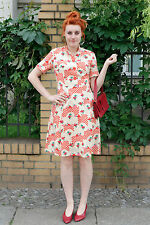 Kleid Sommerkleid summer dress 60er True VINTAGE 60´s Rose Rosen Motiv 20´s face