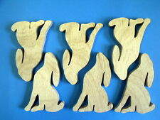 6 12mm plywood  freestanding moongazing hares. decopatch paint craft pagan