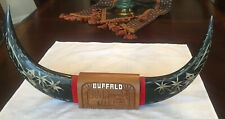 """Buffalo Horns Carving 20"""" long Table-top Mounted On A Carved Wood Base 46 Oun"""