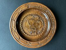 Beautiful Vintage Hand Carved Laquer Wood Wall Decor Plate Floral Design 27 cm