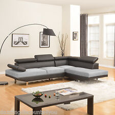 2PC Sectional Sofa Black/Grey Modern 2-Tone Microfiber Bonded Leather