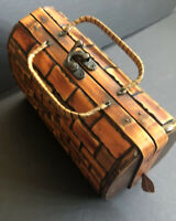 Vintage Wood Purse With Handle Tiki Summer Beach