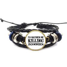 Killing Zombies Black Glass Cabochon Bracelet Braided Leather Strap Bracelet