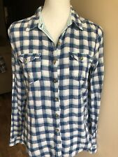 Abercrombie and Fitch Shirt Plaid Blue White Ladies L