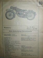 * Victoria KR 25 S 1937  Datenblatt Typenblatt Wartung Pflegedienst