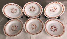 Lot1 De 6 Assiettes Creuses Arcopal Vintage France D 21,5 Cm Fleurs Oranges