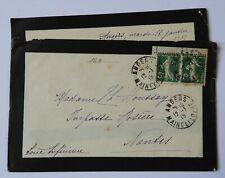 """BL / Enveloppe  / Lettre Avec Semeuse 5c 1915 issue de Carnet  """" Angers """""""