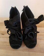 Opening Ceremony Black Bow Open Toe Booties Heels 36 Suede