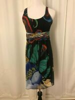 Desigual Black Dress Size Large Sleeveless Scoop Neck Sheath Red Green Blue