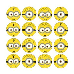 24x Minions Despicable Me Edible Cupcake Toppers Wafer Paper 4cm (uncut)